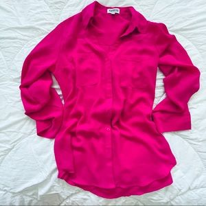 Express - Bright Pink Button up Blouse